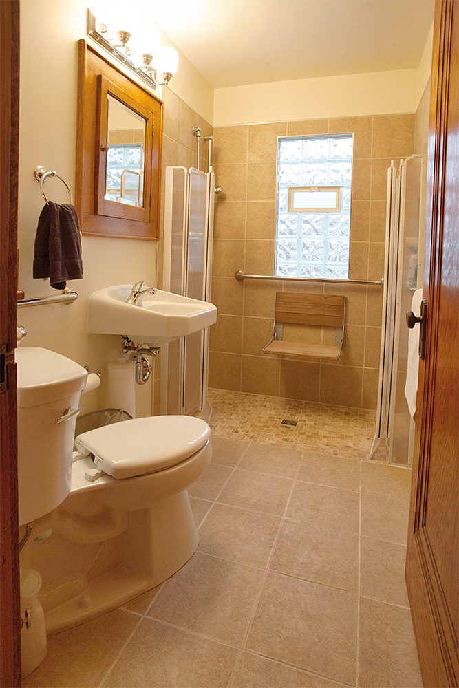 Accessible Bathroom with Wheel in Shower