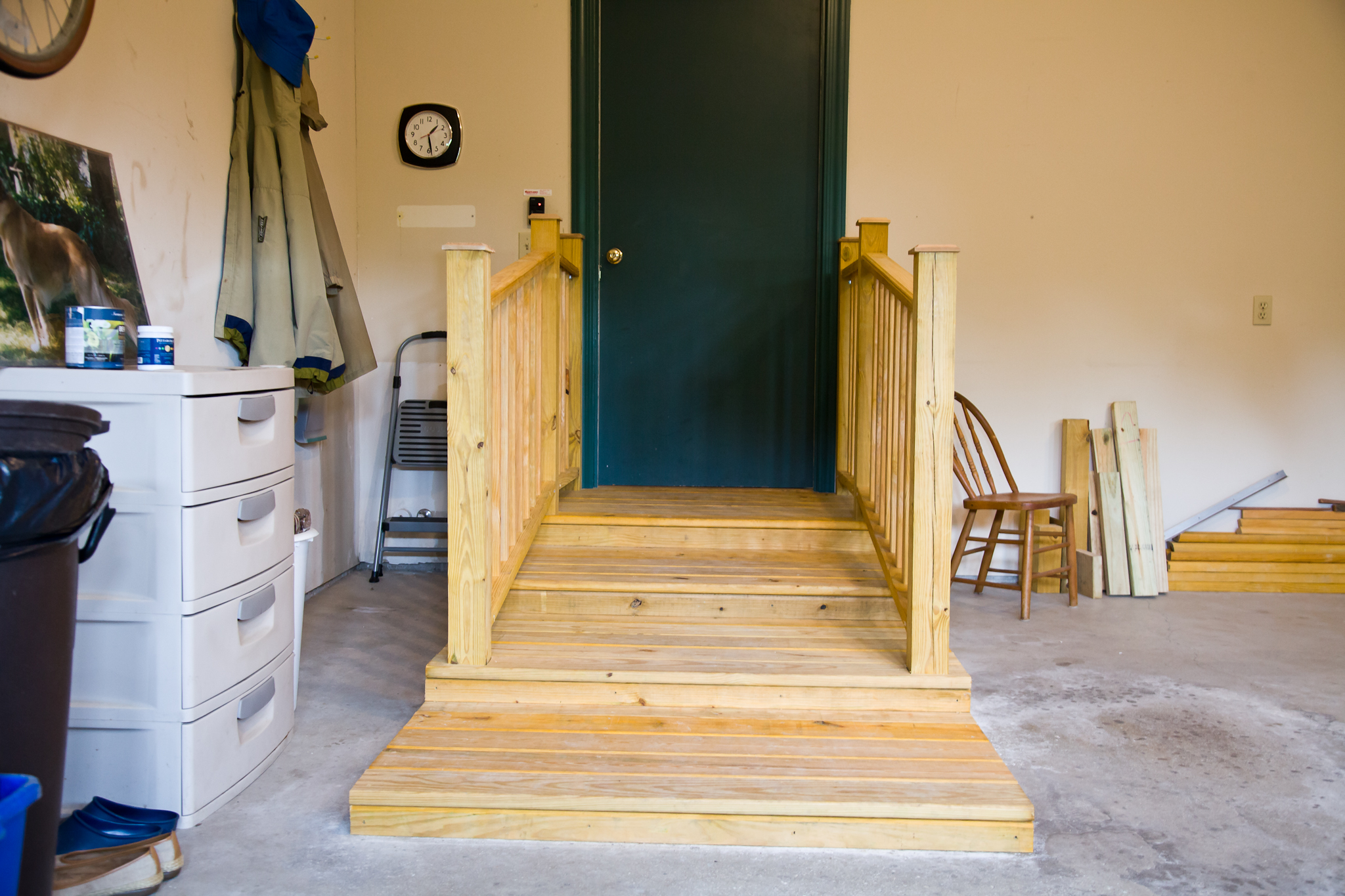 Stairs in Garage for use with Walker Installed by Smart Accessible Living