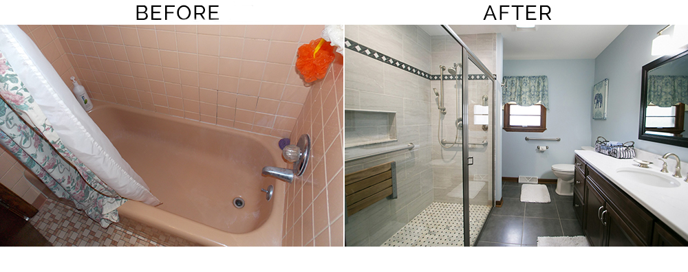 before and after accessible shower